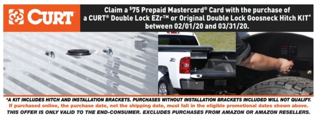 CURT: Get $75 Back on Double-Lock EZr™ or Original Gooseneck Hitch Kits