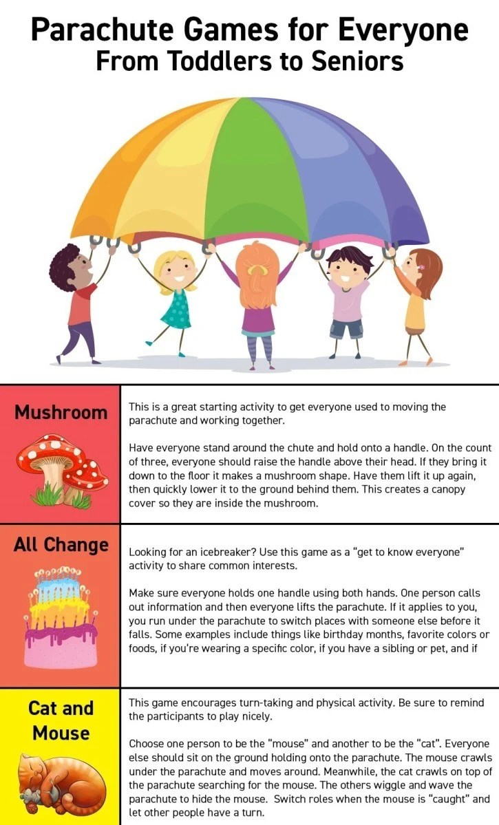 Games To Play While Sitting Down : games, while, sitting, Parachute, Games, (Toddlers, Seniors), Performance, Health
