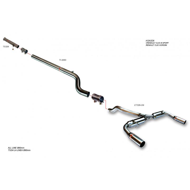 Línea de Escape acero Inox Grupo N Renault Clio 3 RS 2.0i