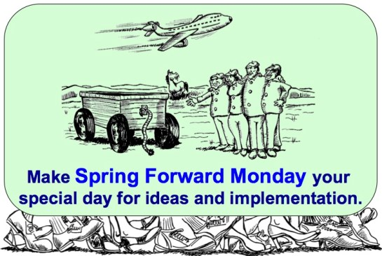 Square Wheels Spring Forward Monday with feet and plane 1