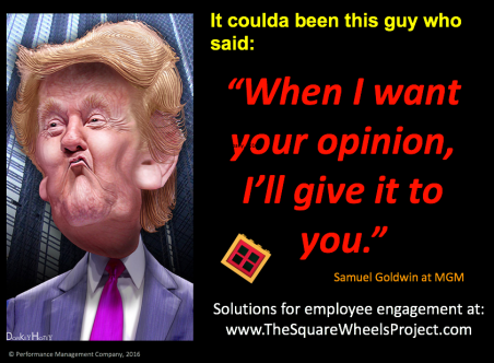 Donkey Hotey's Trump Image and Samuel Goldwyn's quote
