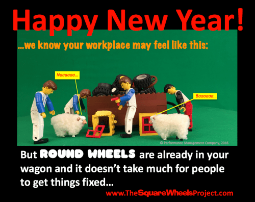 A HAPPY NEW YEAR Square Wheels poster about people and performance