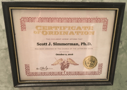 certificate of ordination in church of the latter day Dude - for Dudism