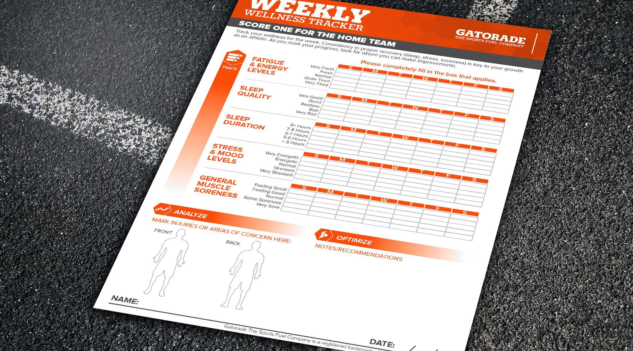 Wellness Tracker Weekly Worksheet