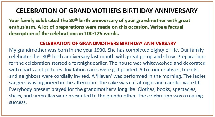 Short Paragraph Essay on Celebration of grandmothers birthday anniversary