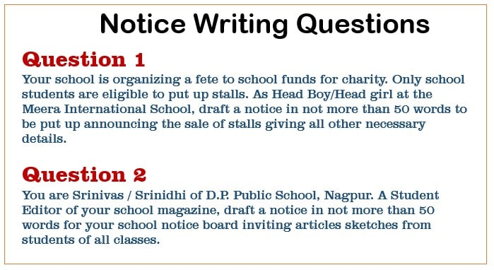 Notice Writing questions