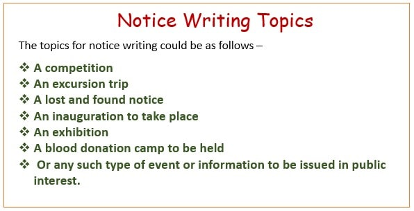 Notice writing Topics for class 6