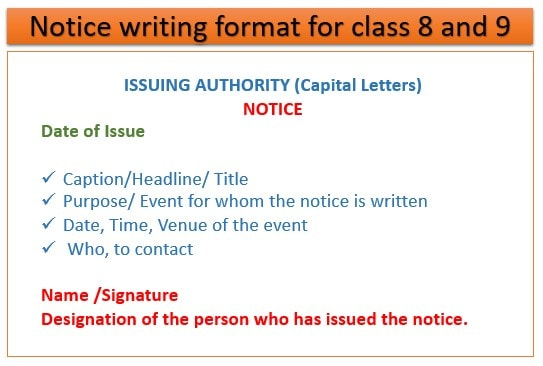 Notice writing format for class 8 and 9