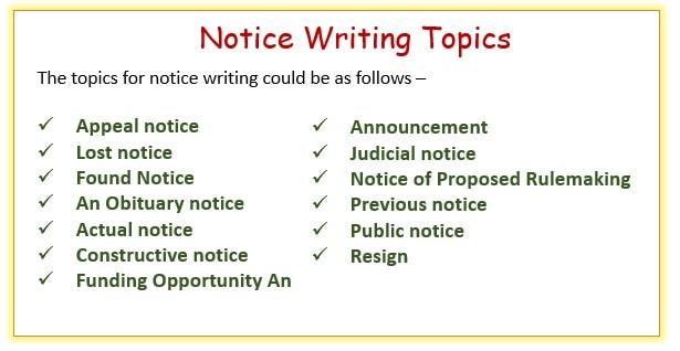 notice writing topics