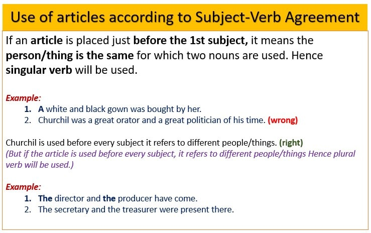 Use of article according to Subject Verb Agreement