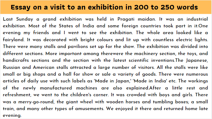 Essay on a visit to an exhibition in 200 to 250 words