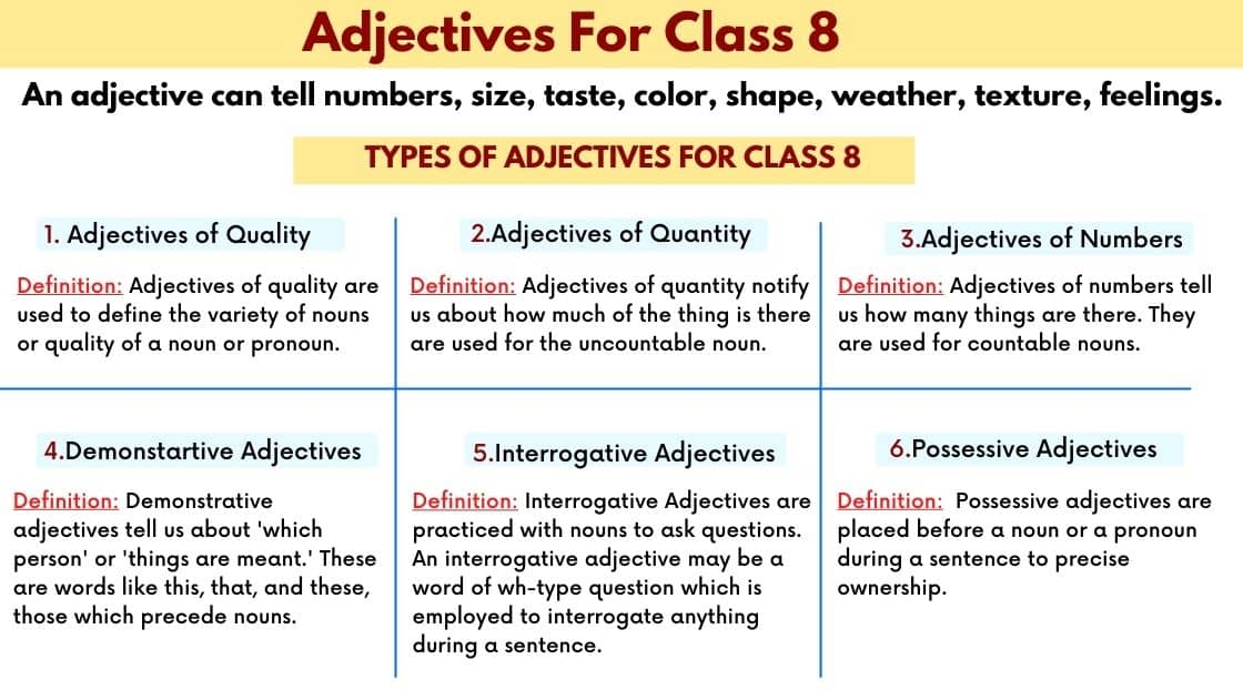 Adjective for class 8