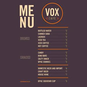 Vox Cafe Menu