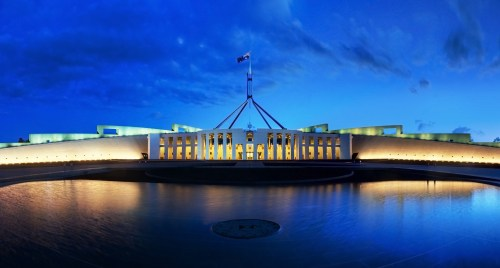 A Quiet Morning Miller et Bertaux Parliament_House_Canberra Wikipedia