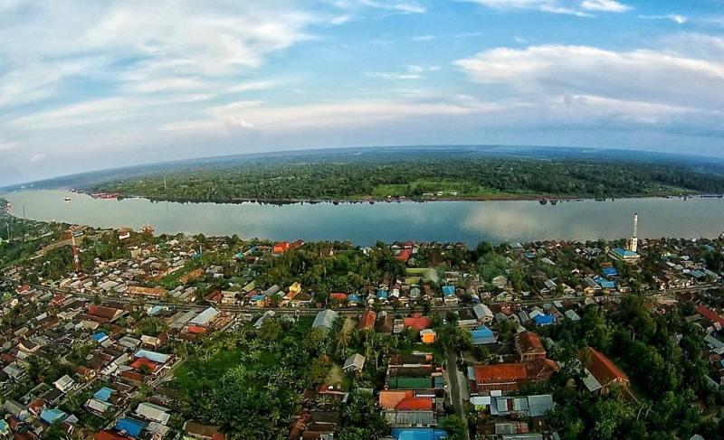 Foto Kota Sampit dari udara via @drone.sampit