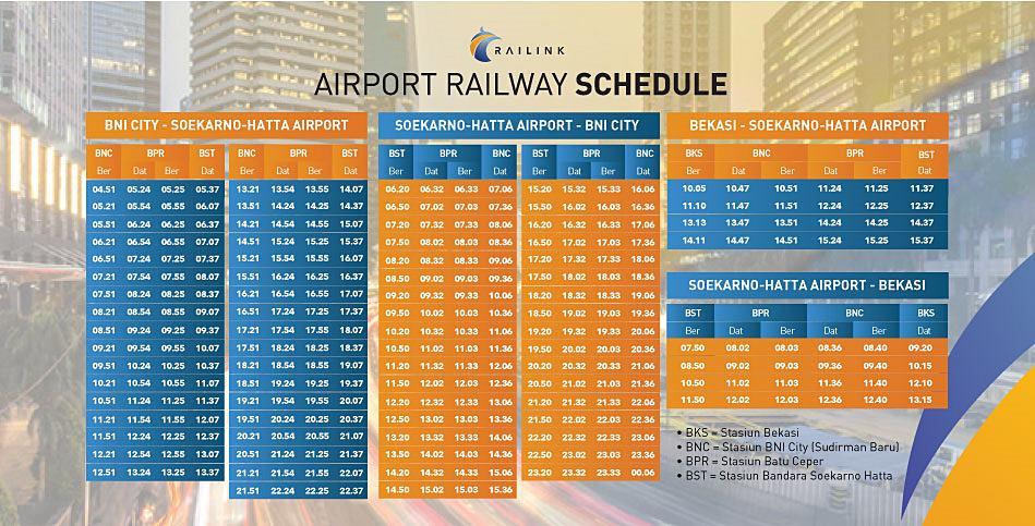 JadwalKereta Bandara Soekarno-Hatta Jakarta Terbaru, termasuk jadwal Kereta Bandara Soekarno-Hatta ke Bekasi.