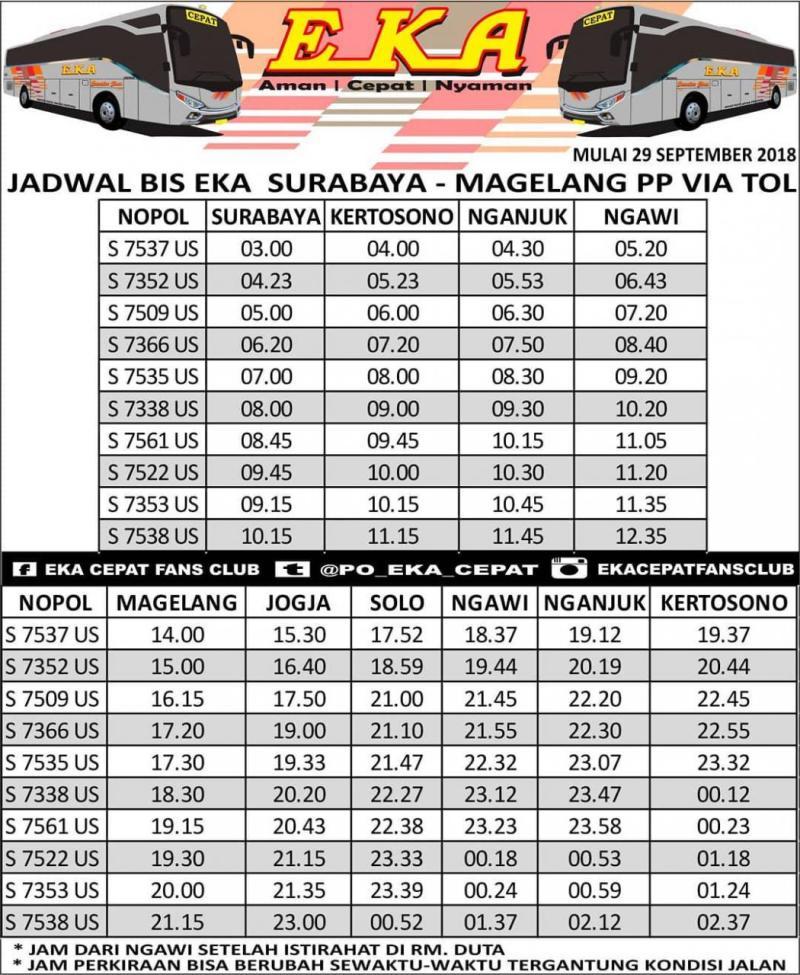 Harga Tiket Bus Eka, Jadwal Bus Eka, Bus Mira