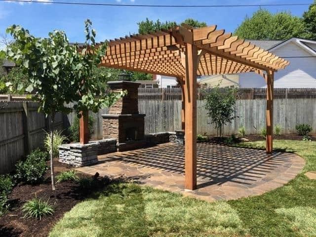 outdoor fireplace ideas with pergolas