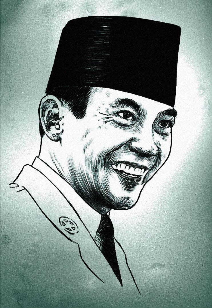 Gambar Soekarno Hitam Putih : gambar, soekarno, hitam, putih, Gambar, Sketsa, Wajah, Lukisan, Soekarno, Hitam, Putih, Terlengkap, Koleksi