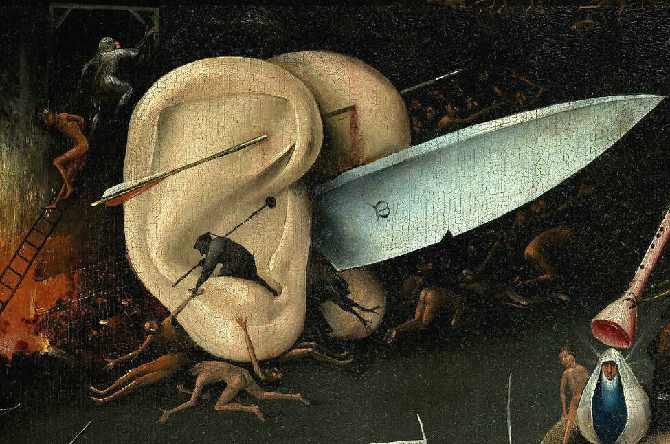 hieronymus bosch-garden of earthly delights-painting-hell-knife-musical hell