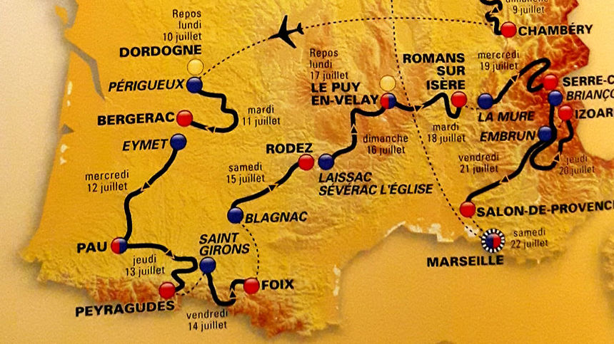 Carte du Tour de france 2017 - Tracé sud