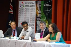 Panel L > R: Prof Andrew Jakubowicz, Gary Paramanathan,  Pino Migliorino, Helen Vatsikopoulos.