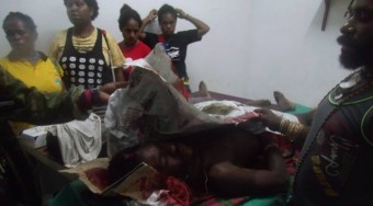 At a hospital in Kuala Kencana, West Papua. On the 11th of March this year five Papuans were shot by the Indonesian police after an argument outside a nearby church, two died. Photo courtesy of Free West Papua Campaign
