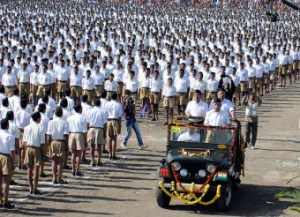 Members of the Rashtriya Swayamsevak Sangh (RSS) stand in formation during convention in Indore in January 2013