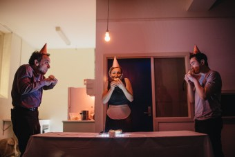 (L-R) Alex Pinder, Deborah Leiser-Moore and Harry Tseng in The Dead Twin.  Pix courtesy of Chi Vu