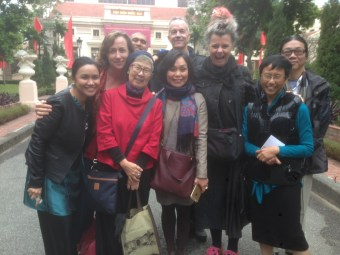 The group shot was taken outside the National Library of Vietnam: (R-L) Nyein Way, Xu Xi, Francesca Rendle-Short, Nguyen Bao Chan, David Carlin, Suchen Christine Lim, Omar Musa, Cate Kennedy, and Jhoanna Cruz.  Pix courtesy of Francesca Rendle-Short