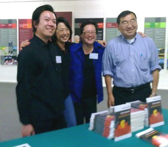 "At the launch of Amerasia's special issue, ""Asian Australia and Asian America: Making Transnational Connections"" (L to R): Dean Chan, Jacquie Lo, Tseen Khoo, and Don Nakanishi. Photo from Tseen Khoo."