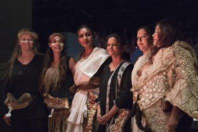 Full cast of Serpent Dreaming Women, Bunjilaka Aboriginal Cultural Centre, Image credit: Arun Munoz