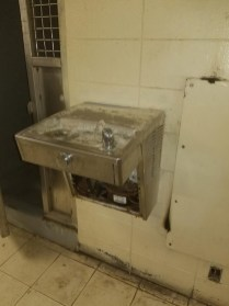Broken water fountain runs continuously at MSP Parchman (Photo Source: Mississippi State Department of Health).