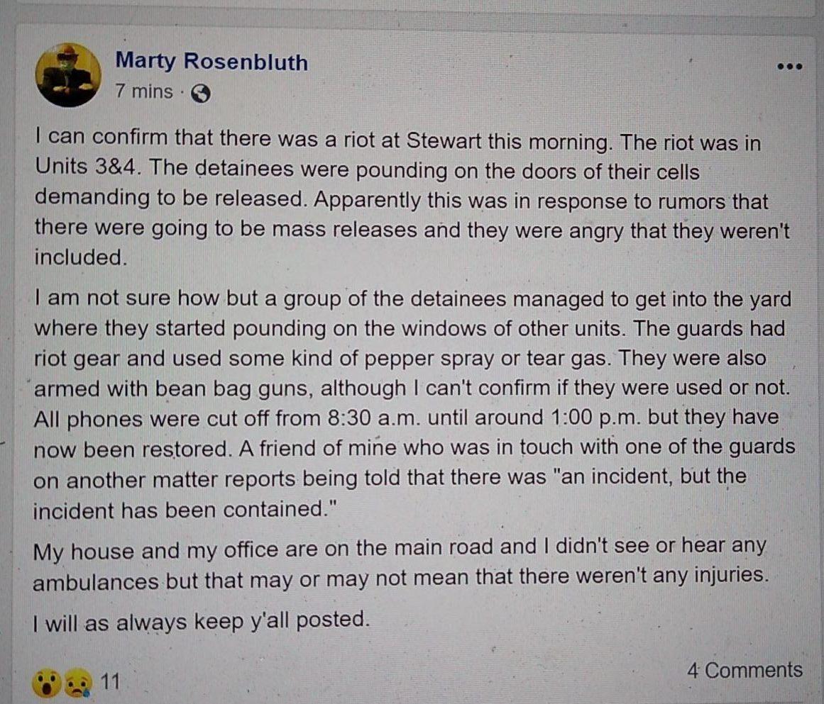 Facebook post describing Stewart disturbance
