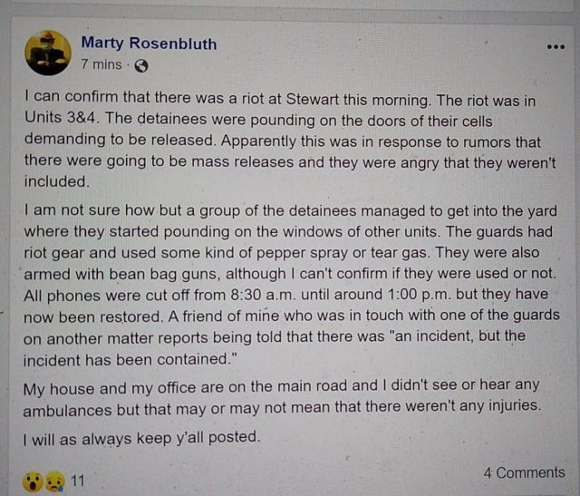 Facebook post describing Stewart disturbance