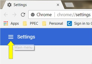 "Click on the the three horizontal bars (""Main Menu"") next to ""Settings"" in top left of window that opens."