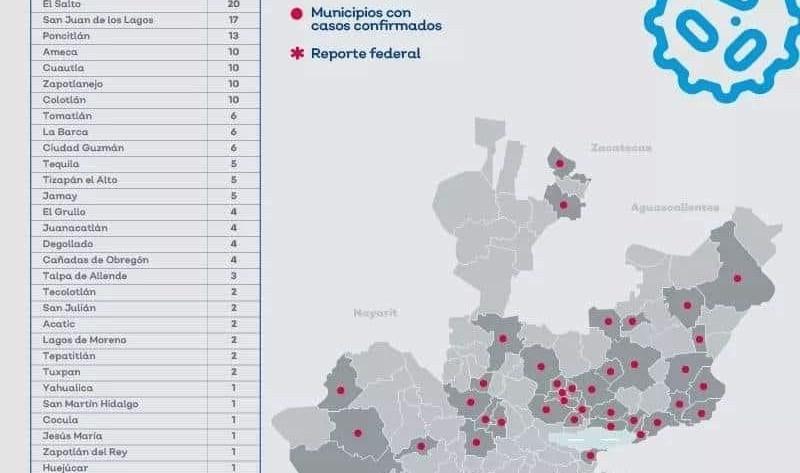Mapa coronavirus en Jalisco