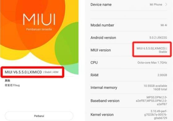 Mi4i Update MIUI 6.5.5.0