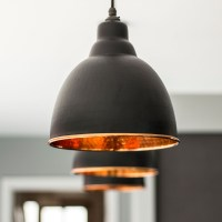Brindley Pendant Light In Black & Hammered Copper - Period ...