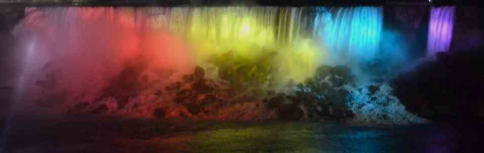 rainbow of colors on Niagara Falls at night