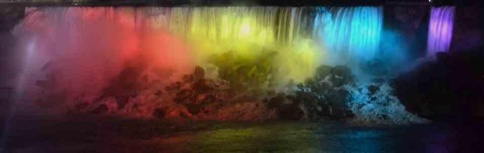 rainbow of colors on Niagara Falls at night