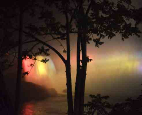Colors and mist of Niagara Falls at night