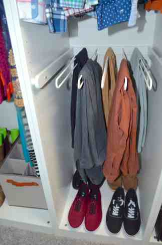 closet with pull out pants rack