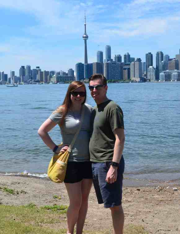 Casey & Mr. PC in front of Toronto skyline