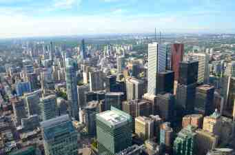 CN Tower view of Toronto city scape