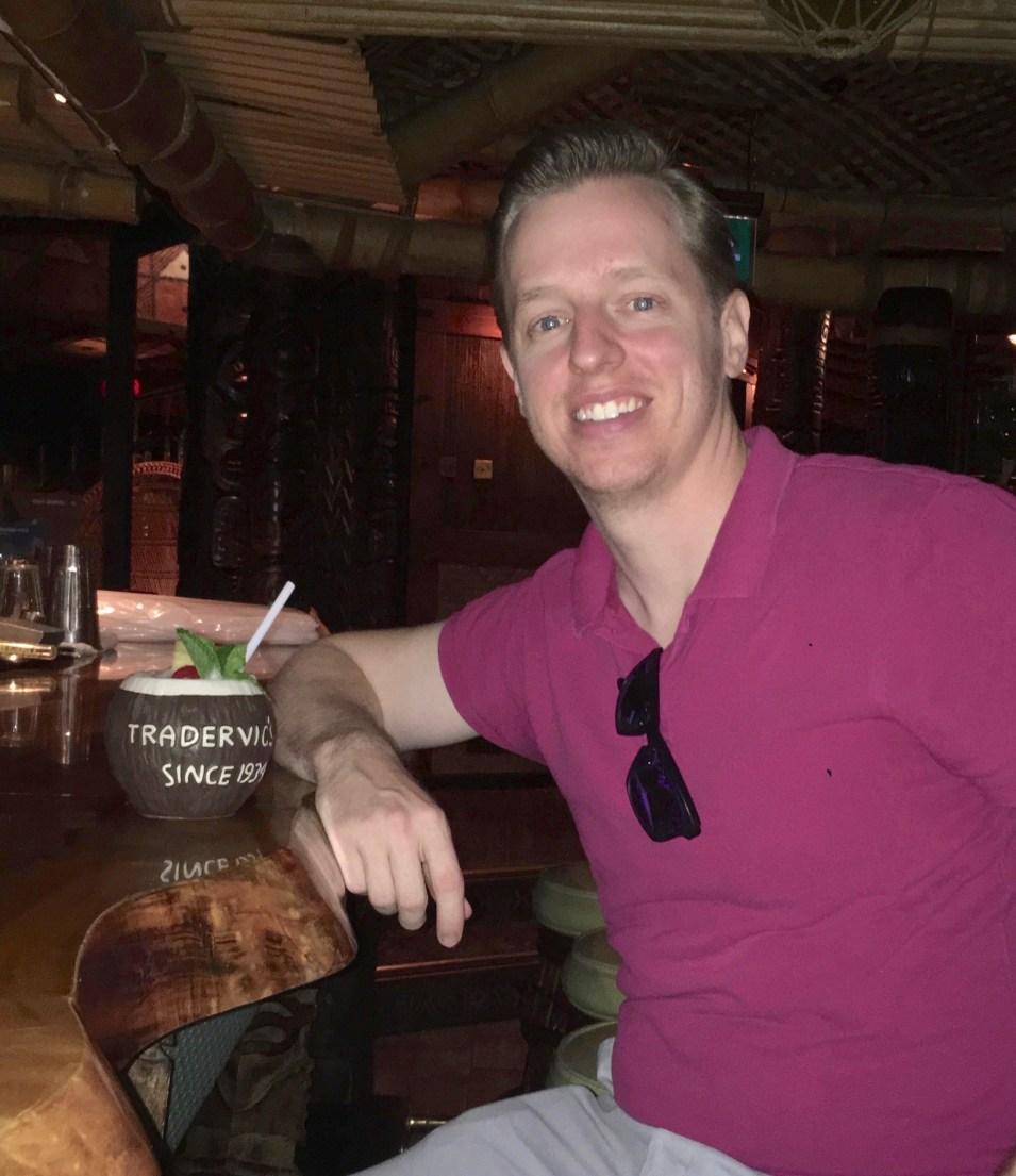 Mr. PC drinking a pina colada