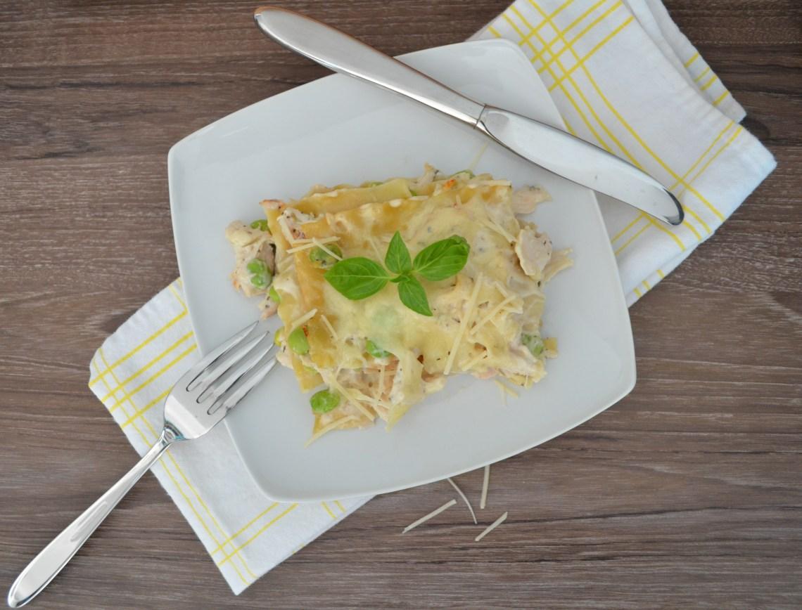 a serving of chicken lasagna