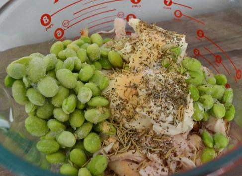 chicken, edamame, cream cheese, and seasonings