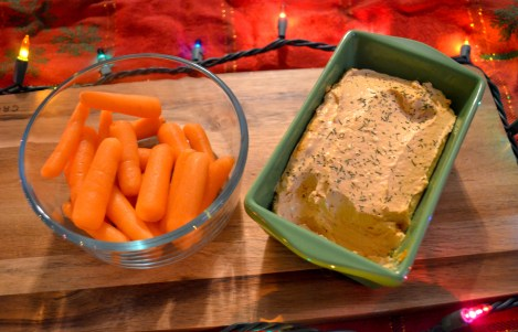 festive Christmas display of dip and carrots