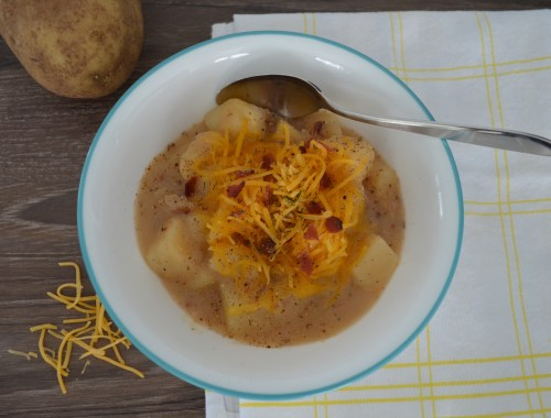 A comforting bowl of potato soup is easy to make while being a couch potato.